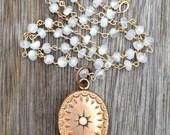 Victorian 9K Rose Gold Filled Opal Pendant, Rainbow Moonstone Gemstone Chain