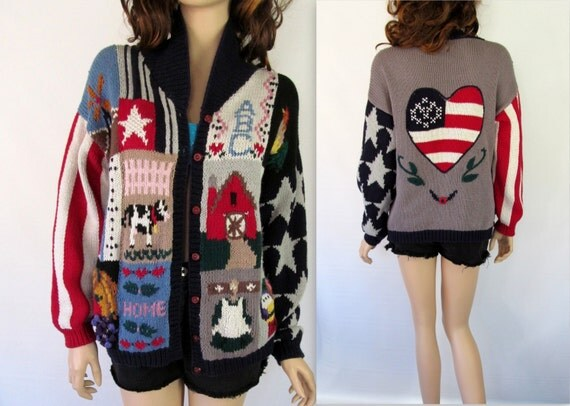 80's Sweater / Vintage Sweater / Vintage Cardigan / Oversized Sweater / Slouchy Sweater /  4th of July Sweater / American  USA Sweater /