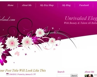 Purple/White Blogger Template Premade Blog Design - Cosmetic Wonderland