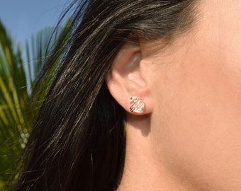 Large Herkimer Diamond Stud Earrings -in Rose Gold, Sterling Silver, or Gold Filled