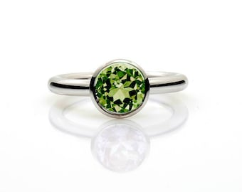 peridot ring, white gold, engagement ring, green, solitaire, bezel, peridot engagement ring, green gemstone, unique engagement