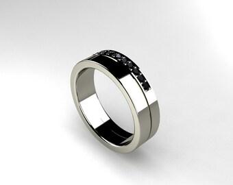 Black Diamond ring, Palladium, men wedding band, men black diamond, black wedding band, Palladium wedding band, modern, nickel free, custom