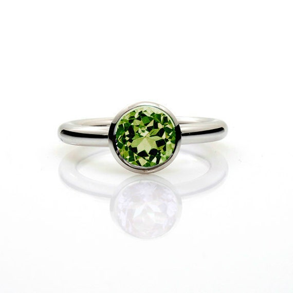 peridot ring white gold engagement ring green by