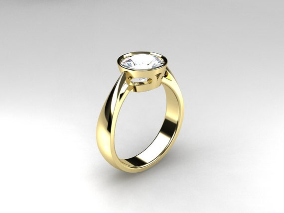 White Topaz Ring Yellow Gold Engagement Ring By