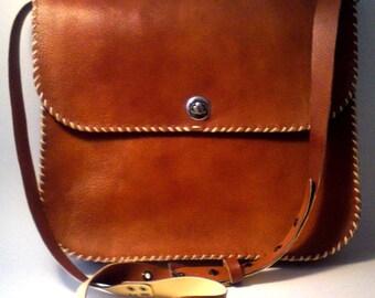 Brown - camel leather bag / Handmade crossbody - messenger bag
