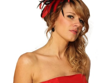 Black and Red Satin  Feather Fascinator Hat - wedding, ladies day - choose any colour feathers & satin