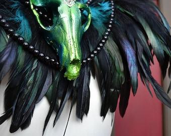 Animal-friendly Feathered Faux Fox skull collar in vibrant metallic Turquoise Mortiis.M