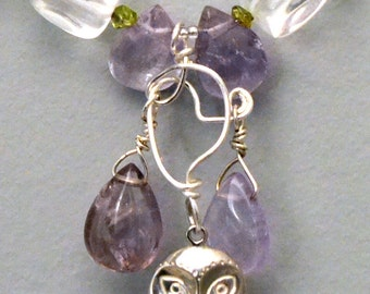 Lilac Owl -- Necklace in Amethyst, Quartz Crystal, Peridot, Pearl, and Sterling Silver