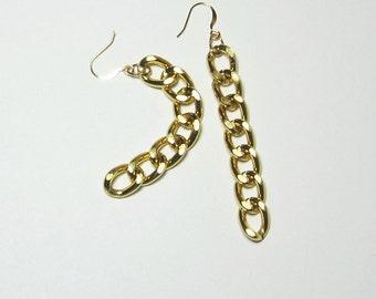 Gold Big Link Long Earrings Lightweight Chunky Chain