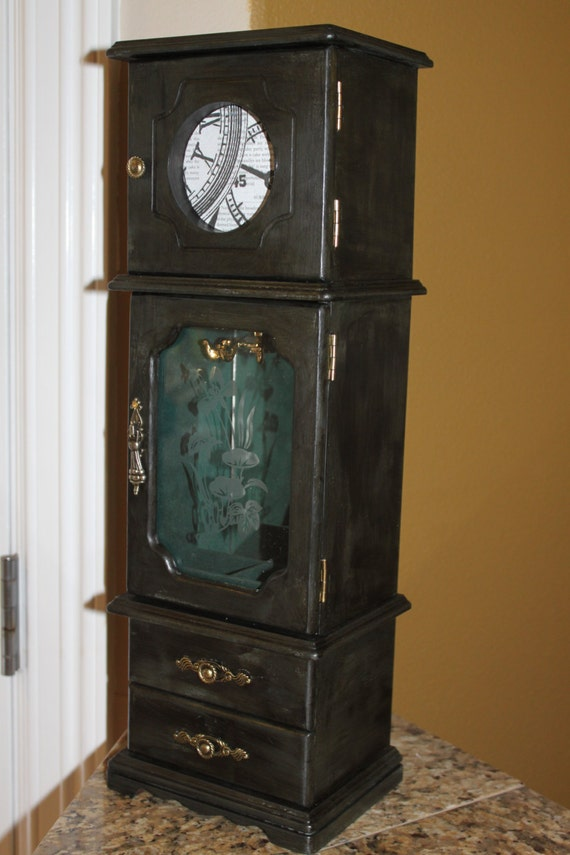 Items Similar To Black Distressed Vintage Jewelry Armoire