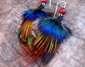 Bright Colorful Feather Earrings