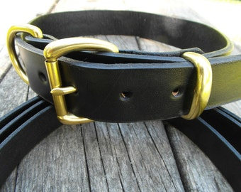 Black Leather Collar and Leash, Black Pet Collar with Leash, Leather Collar with Matching Leash, Large Dog Collar and Leash, Big Dog Collar