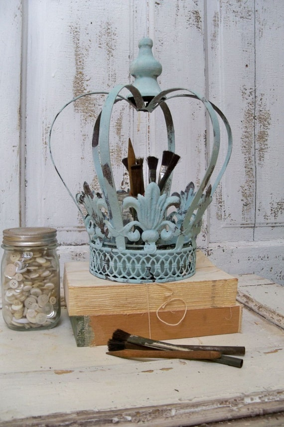 large crown blue metal distressed rusty home decor planter