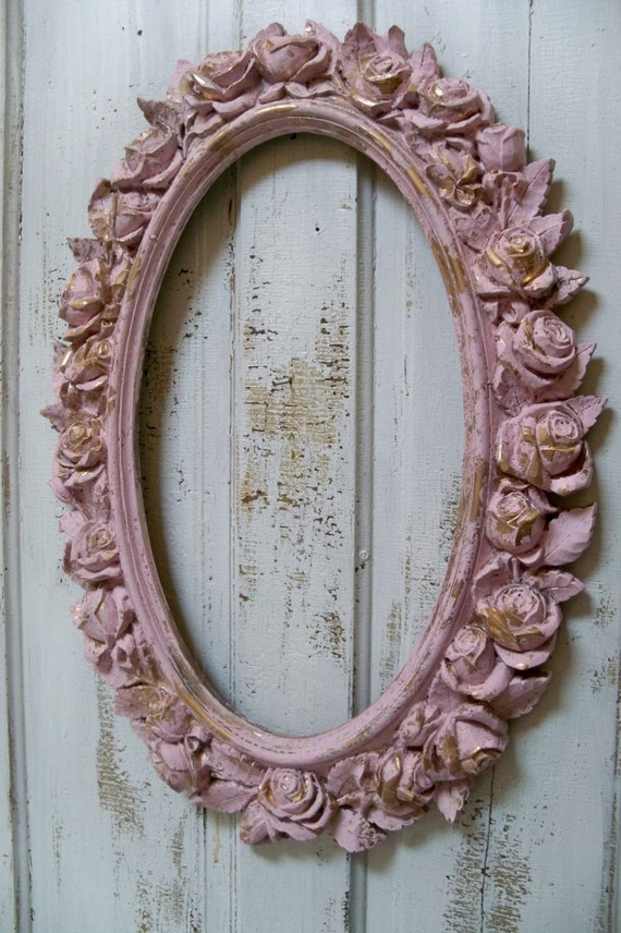 Large Vintage Wall Decor : Large pink ornate frame wall decor distressed roses vintage