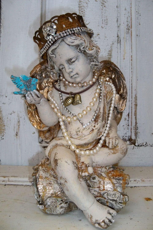 Reserved item Cherub angel statue crown sculpture embellished