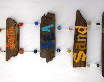 Sun Sea Sand Surf Driftwood Art with colorful beads