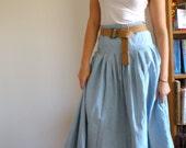 LIGHT WASH Denim Long FULL Skirt High Waist