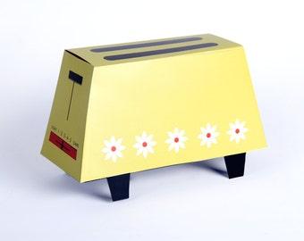 Retro Toaster Gift Box Template Vintage Wedding Gift, Bridal Party 1960's 70's Toaster DIY Wedding, Mustard Yellow Daisies