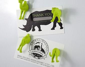 Valentine Day Magnets for kids - Bright Green Tiger & Camel - Valentines Gift