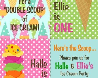 Ice Cream Brother, Sister, Twins Birthday Party/ Ice Cream Sundae Party Invitation