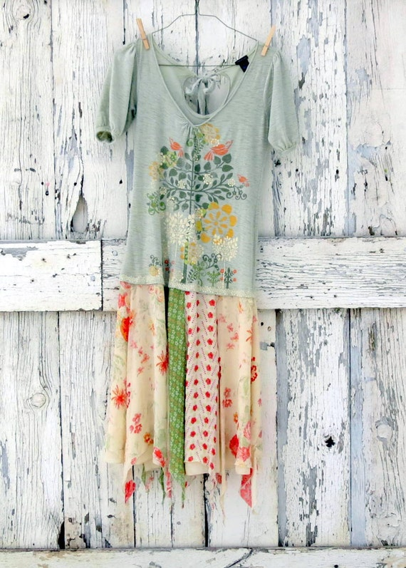 Lemongrass Mint Green Pixie Dress upcycled poppy floral dress eco friendly romantic boho dress
