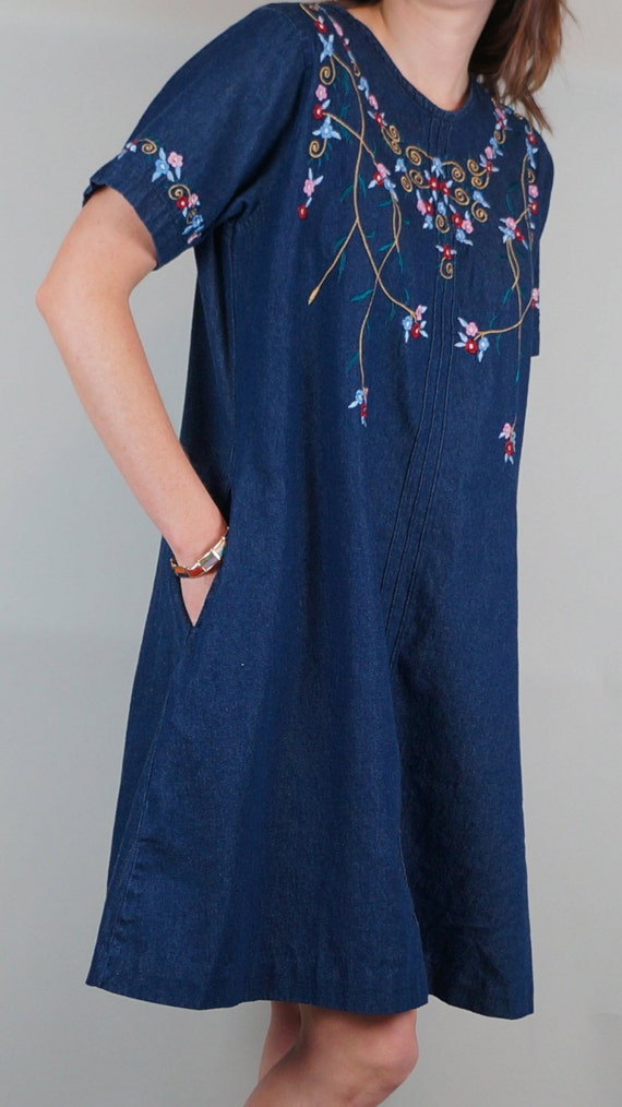 S embroidered denim dress swing