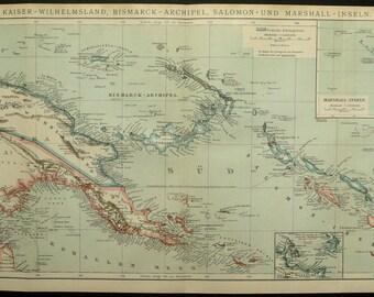 1895 Antique map of PAPUA NEW GUINEA, Bismarck Islands, Solomon Islands. 121 years old map.