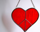 Red Peace Sign Heart Love Stained Glass Gift for Lover Mother's Day Gift - Select your own color