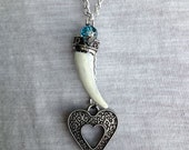 Elephant Tusk and Heart Pendant Necklace