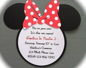 Handmade Inspired Minnie Mouse Invitations - Red with White Polka Dots