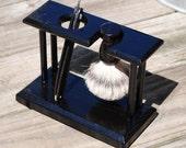 Shaving Stand for Straight Razor and Badger Brush, Solid Oak, Black