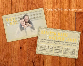 Large Vintage Wedding Invitations with Photo - Recycled Matte Cardstock - Double Sided w/ Chevron Pattern on Back - Nostalgic & Rustic Look