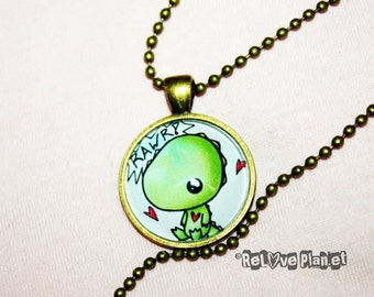 "Rawr Dino 1"" Pendant Necklace - or 2 for 20 - Happy cute kawaii baby dinosaur t-rex - ReLove Plan.et"