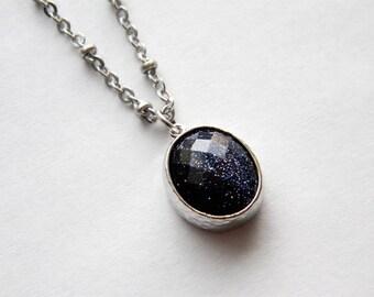 Silver Necklace - Sparkle Blue Goldstone Necklace - Long Necklace - Blue Goldstone Pendant on Matte Silver Chain