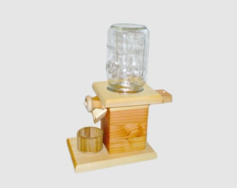 Natural Wooden Peanut Dispenser / Candy Dispenser with mason jar