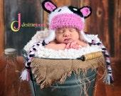Custom Order Crochet Baby Cow Hat/photo prop sz nb