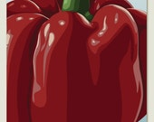 Red Bell Pepper - Kitchen Wall Art Print of an Original Illustration - kitchen, food, vegetable, dining room
