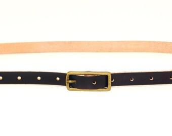 "Black Skinny Belt - 1/2"""