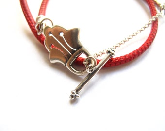 Kabbalah bracelet - Hamsa toggle clasp silver and red leather bracelet