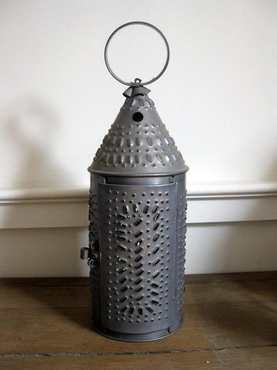 Vintage Punched Tin Lantern Primitive Lantern Paul Revere
