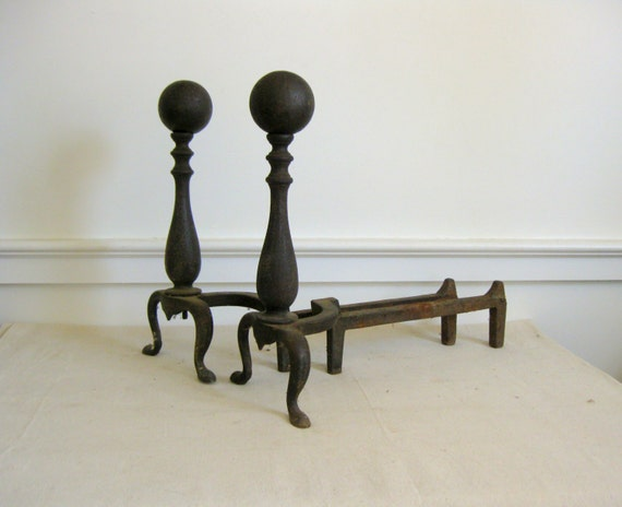 Vintage Cast Iron Andirons, Fireplace Log Holders, Cannonball Design - Vintage Cast Iron Andirons Fireplace Log Holders Cannonball