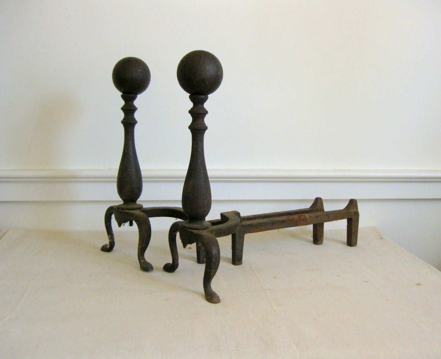 Vintage Cast Iron Andirons Fireplace Log Holders Cannonball