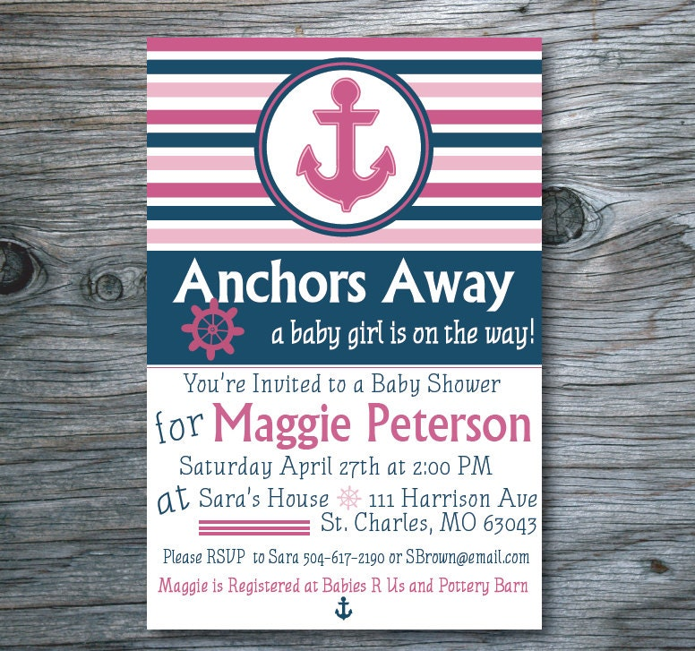 nautical baby shower invitation anchor baby shower by antsydesigns