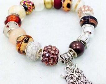 Owl European Style Charm Bracelet