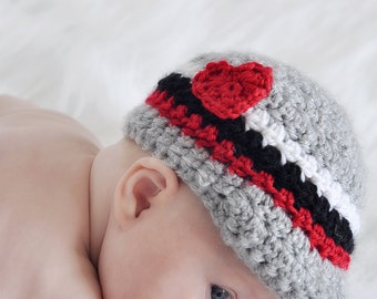 Crochet Heart Hat – Baby Winter Hat – Valentines Day Photo Prop – Baby Valentine Hat – Baby Newsboy Cap – Girls Winter Hat - Infant Baby Hat