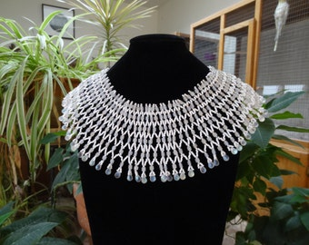 Netted Stitch Egyptian Collar with Iridescent White and Frosted Beads