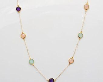 Aqua Chalcedony necklace, Amethyst jewelry, Pink quartz gold necklace, bezel necklace, long necklace, station necklace, February Birthstone
