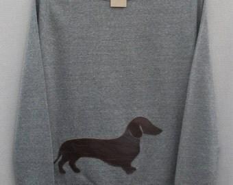Leather Dachshund Jumper Light Grey Heather Lightweight Crew Neck Sweatshirt
