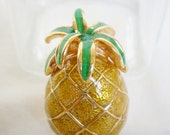 Vintage Pineapple Brooch - 1980s Gold Tone Painted Glazed Enamel