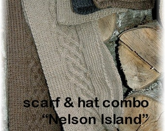 "Scarf & Hat combo/set for Men, hand knit in pure wool with cables ""Nelson Island""- READY TO SHIP gift for him"